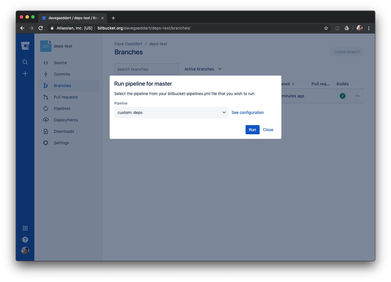 Bitbucket pipeline manual run for deps